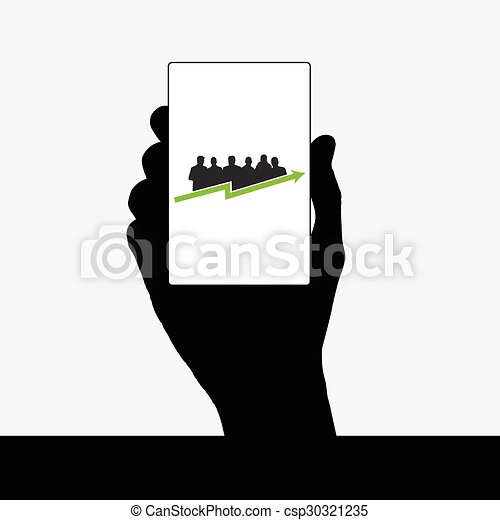 business people vector silhouette in hand - csp30321235