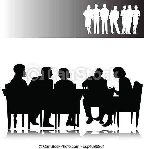 business people vector silhouettes - csp4698961