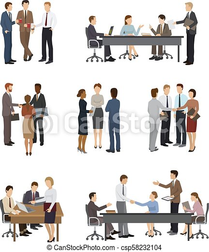 Business people vector team or group of professional people work in office and businessmen working in teamwork together or meeting with workers isolated on white background illustration - csp58232104