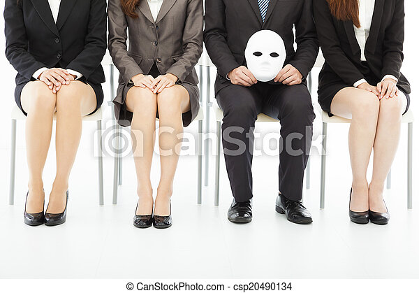 business people waiting for job interview with a strange mask  - csp20490134