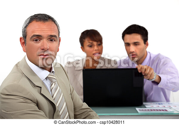 Business people with a laptop - csp10428011