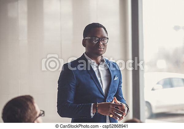 business people with businessman leader on foreground - csp52868941