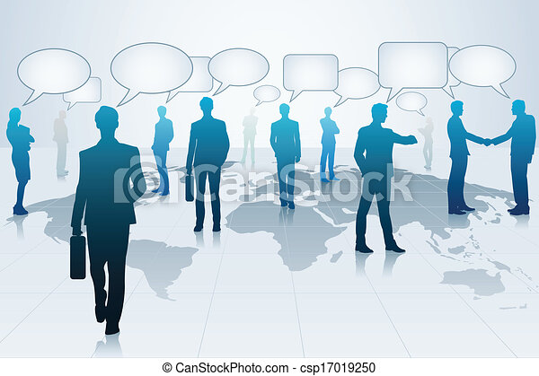Business People with Chat Bubble - csp17019250