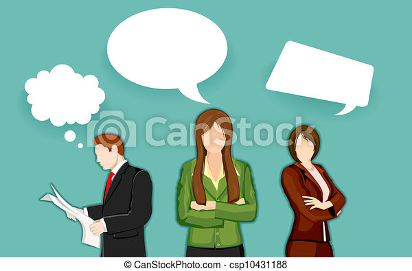 Business People with Chat Bubble - csp10431188