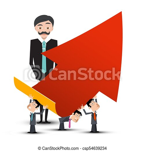 Business People with Red Arrow. Vector. - csp54639234