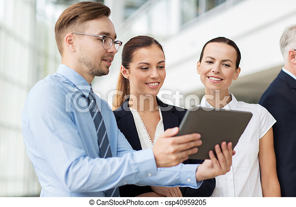 business people with tablet pc computer at office - csp40959205