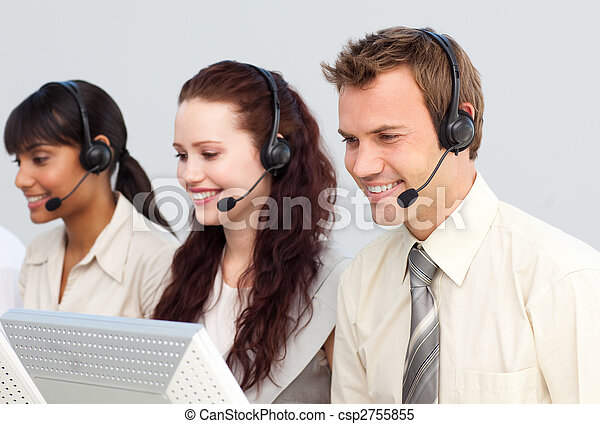 Business people working in a call center - csp2755855