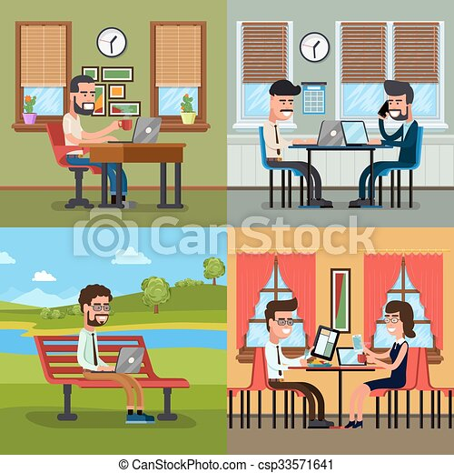 Business people working in various workplace - csp33571641