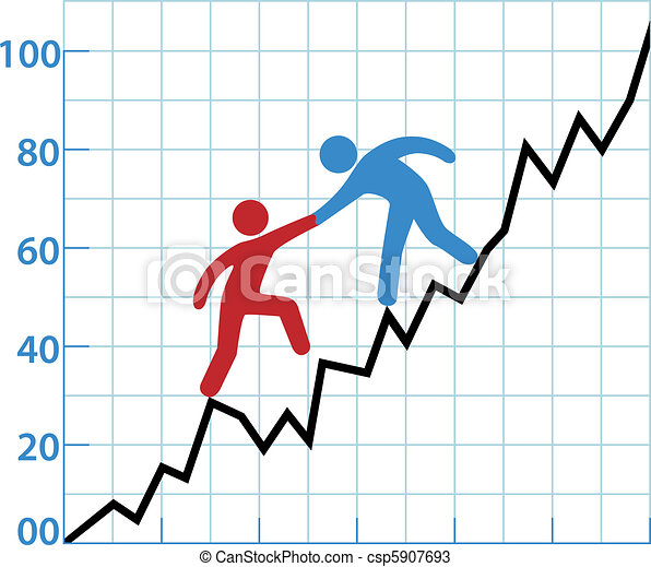 Business person chart help red ink to profitability - csp5907693