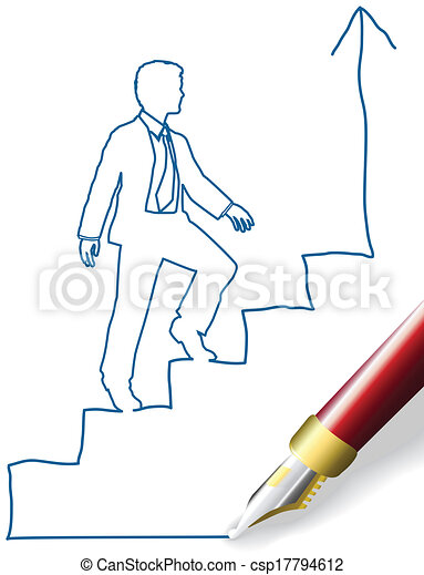 Business person climb up success - csp17794612