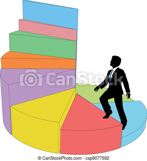 Business person climbs stair step pie chart - csp9077592
