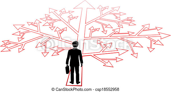 Business person confusing decisions path - csp18552958