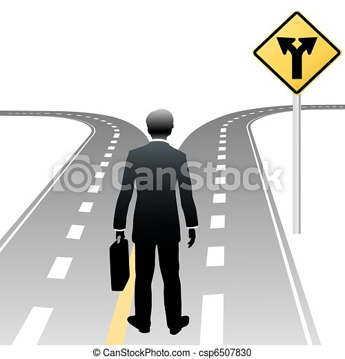 Business person decision directions road sign - csp6507830
