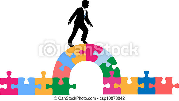 Business person puzzle bridge to solution - csp10873842