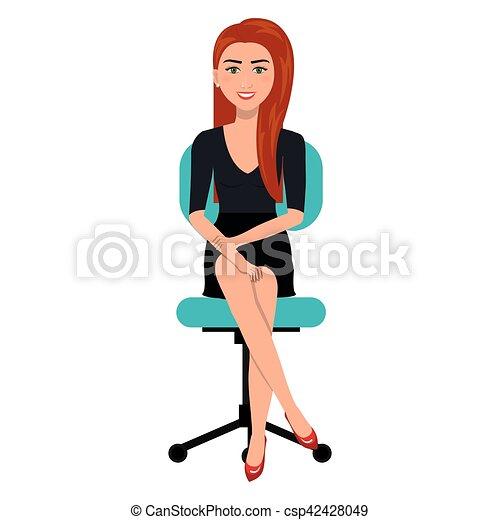 business person sitting on office chair vector illustration design. Black Bedroom Furniture Sets. Home Design Ideas