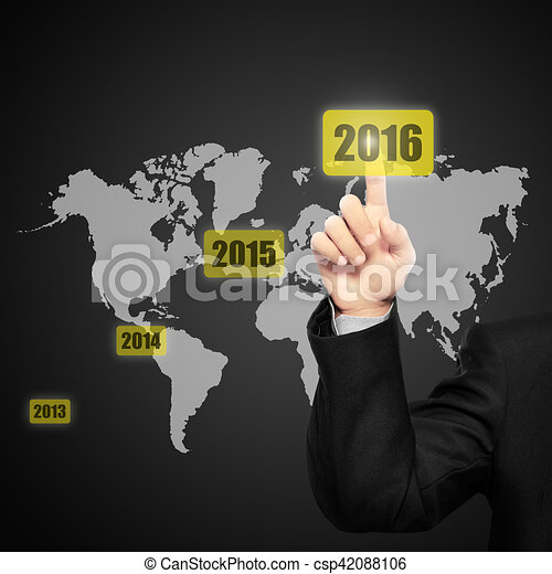 Business person touching 2016 year button - csp42088106