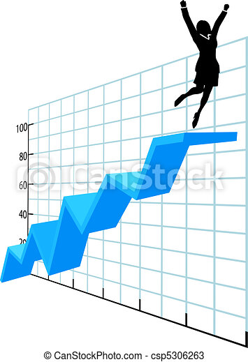 Business person up on company growth success chart - csp5306263