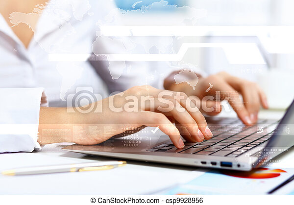 Business person working on computer - csp9928956