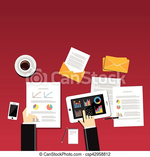 Business person works at workplace with smartphone, graphs and tables - csp42958812