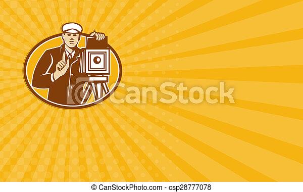 business, photographe, appareil photo, retro, vendange, devant, carte - csp28777078
