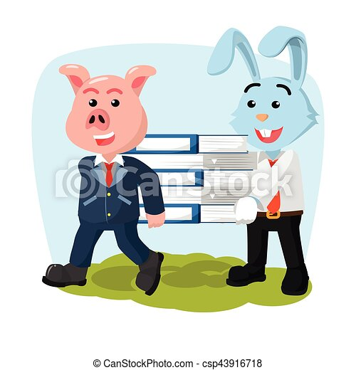 business pig and rabbit carrying book - csp43916718