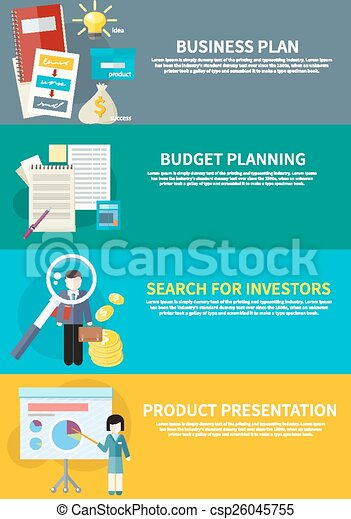 Business Plan Budget Planning Search Investors Clipart Vector Search Illustration