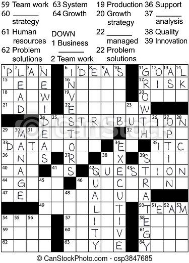 Business Plan Idea Solutions Crossword Puzzle A Crossword Puzzle With Business Plan Words As Clues And Solution Answers Canstock