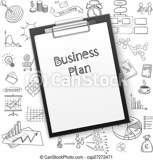 business plan on tablet with paper and hand draw icon - csp27272471