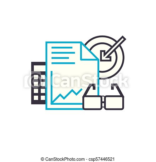 Business plan vector thin line stroke icon. Business plan outline illustration, linear sign, symbol concept. - csp57446521