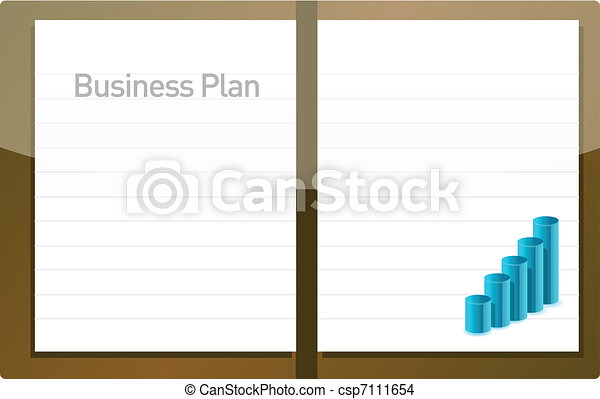 business plan with graph and blank pages