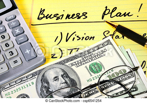 Business plan with money, calculator and pen. - csp6541254