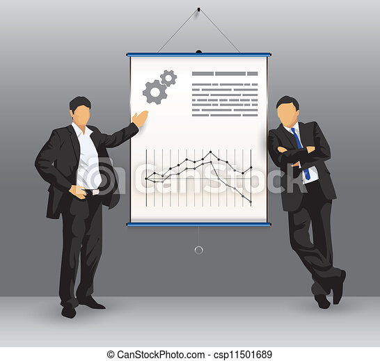 Business presentation board with business people - csp11501689