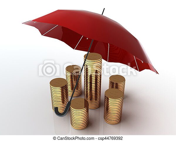 Business protection concept. 3d image. White background. - csp44769392