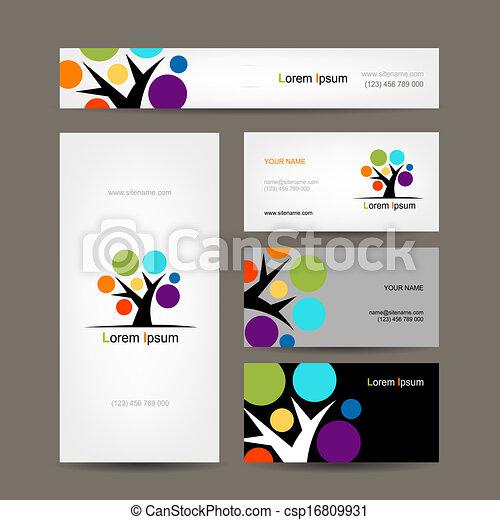 business, résumé, arbre, collection, conception, cartes, ton - csp16809931
