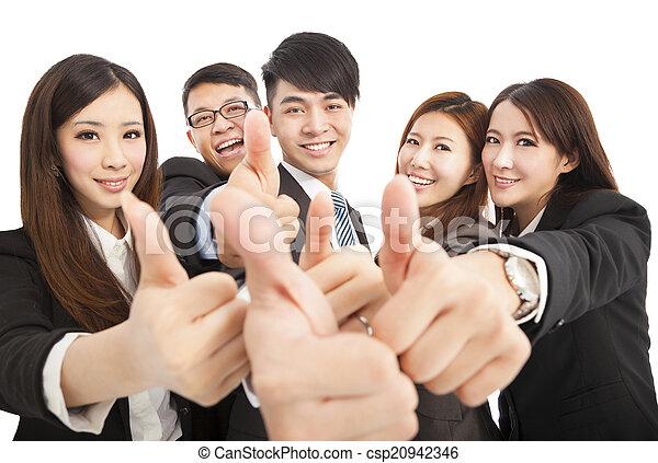 business, réussi, haut, pouces, équipe, heureux - csp20942346