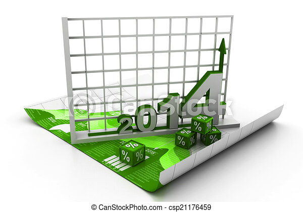 Business report and chart on 2014 - csp21176459