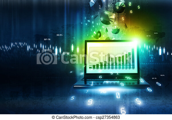 Business report in abstract background - csp27354863