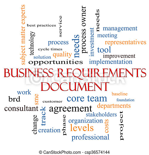 Drawing Of Business Requirements Document Word Cloud Concept With