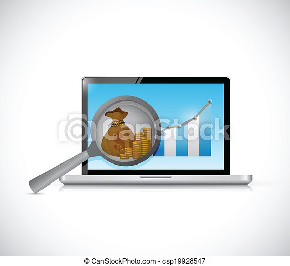 business research on a computer. illustration - csp19928547