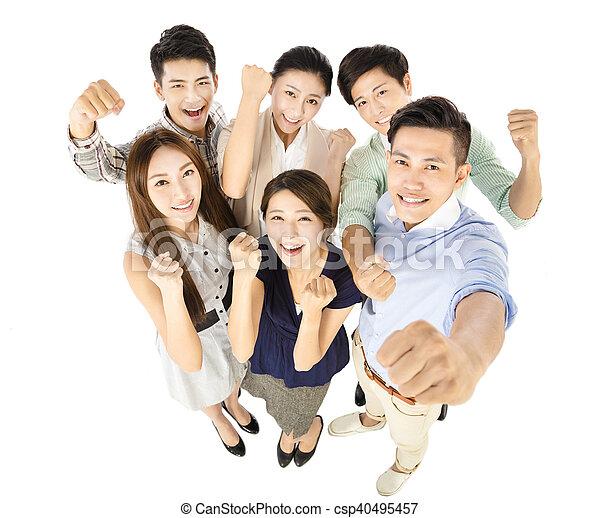 business, reussite, jeune, équipe, geste, heureux - csp40495457