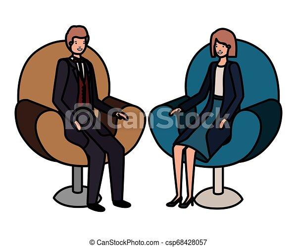 business, séance, couple, caractère, avatar, chaise - csp68428057