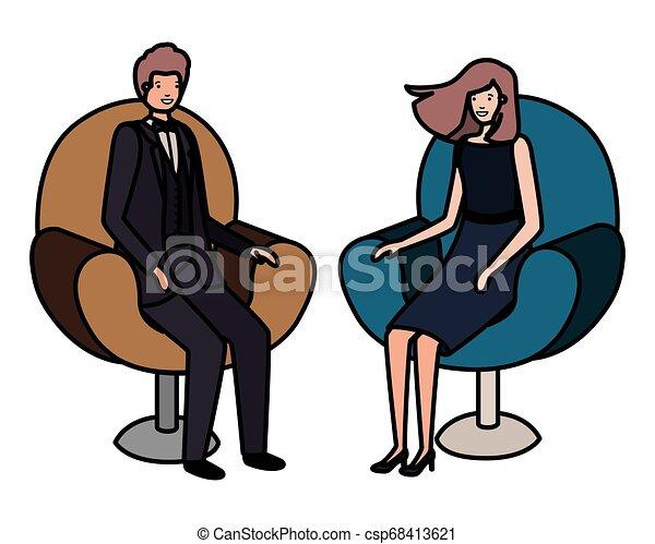 business, séance, couple, caractère, avatar, chaise - csp68413621