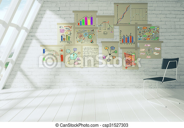 Business scheme concept on paper posters on brick wall in white room with chair - csp31527303