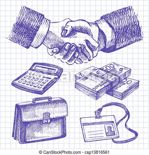 Business set. Hand drawn illustrations  - csp13816561