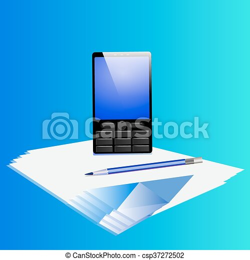 Business set with phone , pencil and paper. - csp37272502