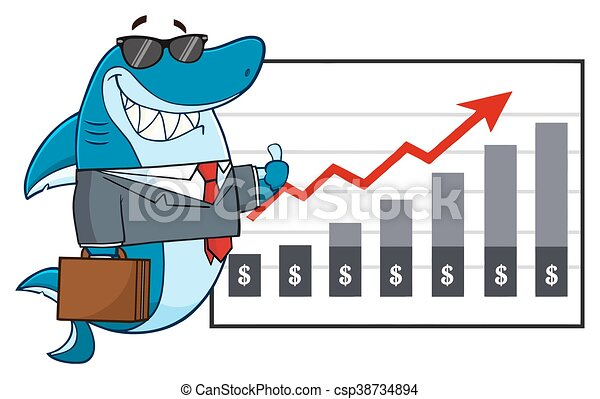 Business Shark Mascot Character - csp38734894