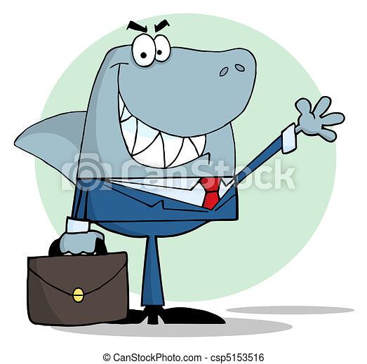 Business Shark Waving A Greeting  - csp5153516