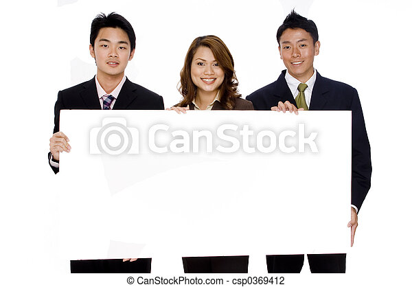 business sign three young asian business people hold up a large