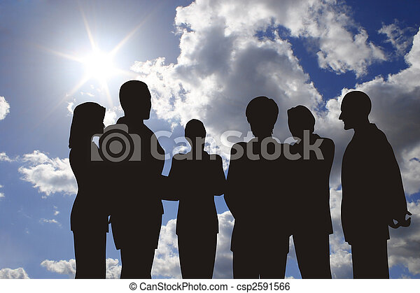 business silhouette on sunny sky - csp2591566