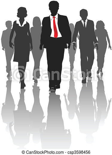 Business silhouette people walk human resources - csp3598456